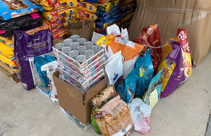 Pile of pet food donations