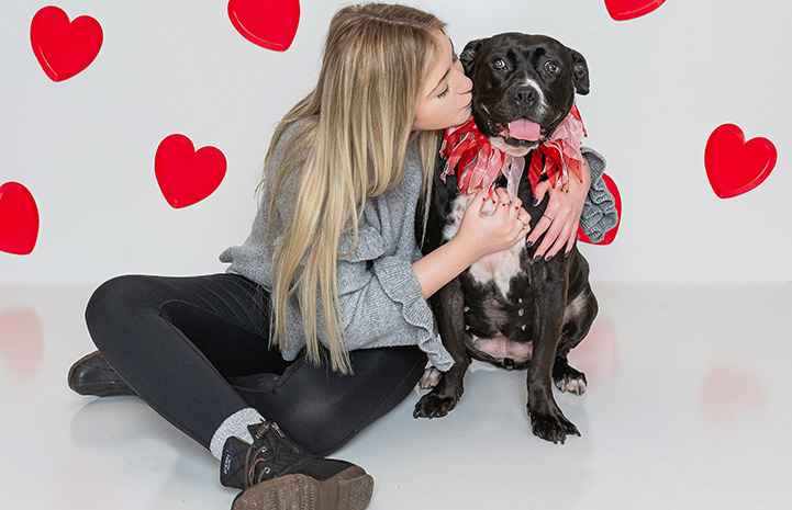 A woman kissing Jellybean, a black and white dog surrounded by red hearts