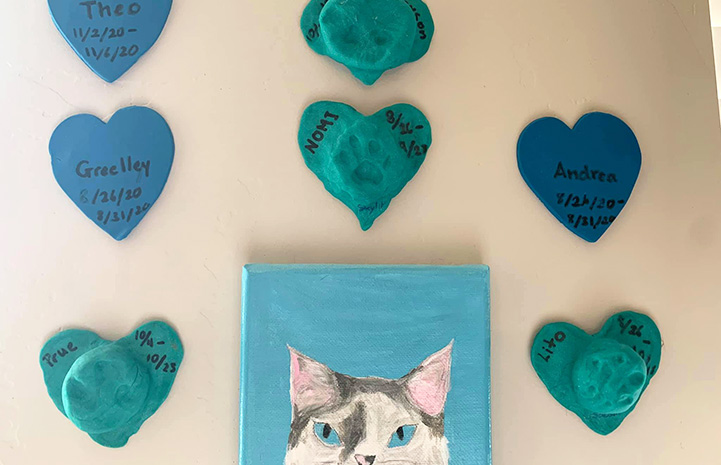 Photo of a cat painting as well as blue and teal hearts with pawprints and listed with names and dates