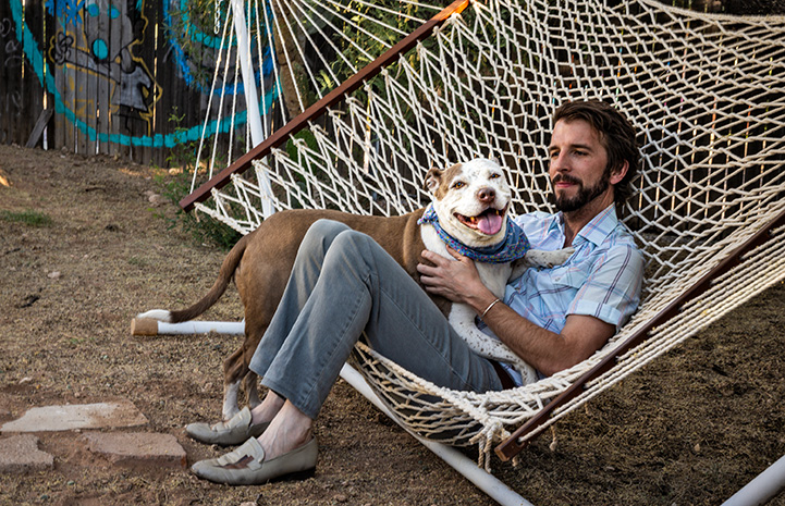 Man lying in a hammock with a brown and white dog in his lap