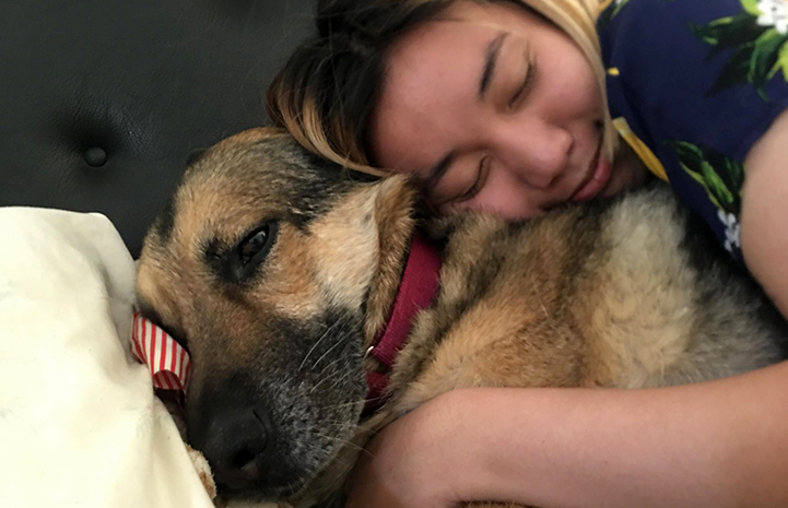 Cheryl Chan hugging her newly adopted German shepherd Harriet