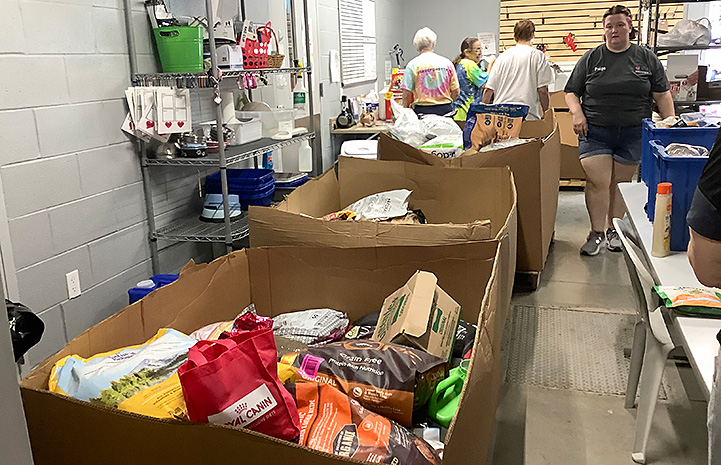 Donated pet food that Forsyth Humane Society distributed