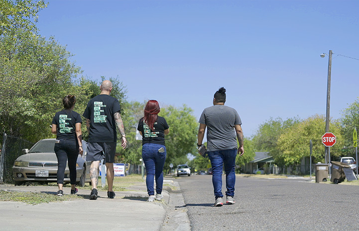 The backs of four people walking down a street together