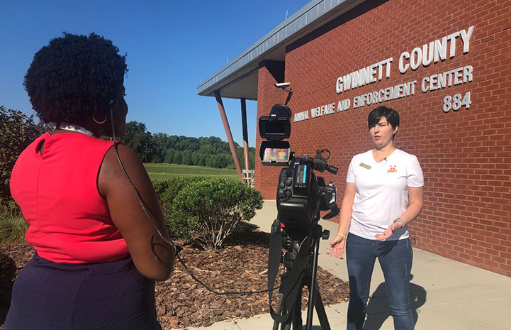 Woman being interviewed on camera in front of the Gwinnett County Animal Welfare and Enforcement building