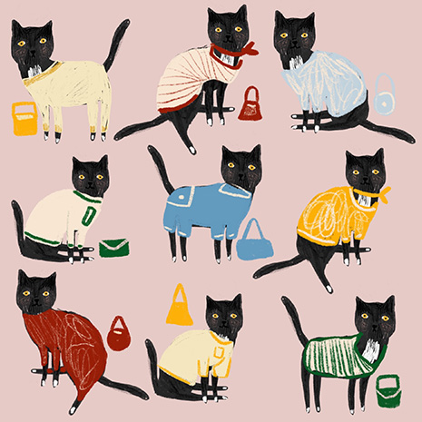 Drawing of nine versions of Hero the cat, wearing nine different outfits