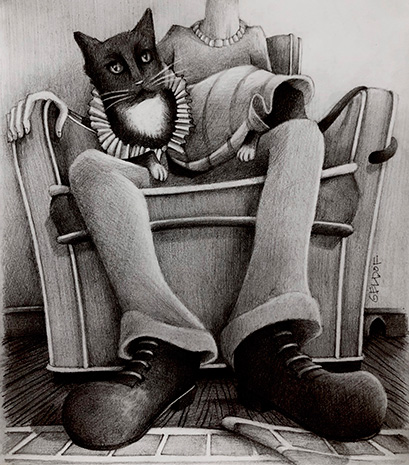Black and white drawing of Hero the cat sitting on a person's lap who is sitting in a chair