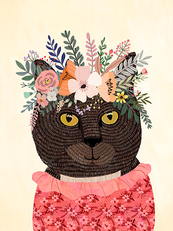 Drawing of Hero the cat wearing a pink outfit with a flower crown