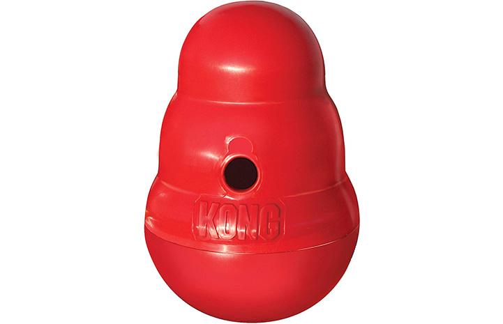 Red rubber Kong Wobbler toy for dogs