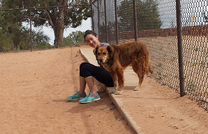 Isabel volunteering at Dogtown, sitting and petting a brown fluffy dog