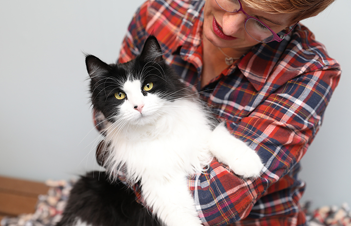 Woman in a plaid shirt holding a black and white, medium hair cat, who is looking at the camera