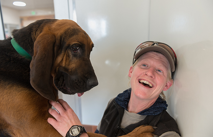 Woman laughing next to a big bloodhound dog named Luther