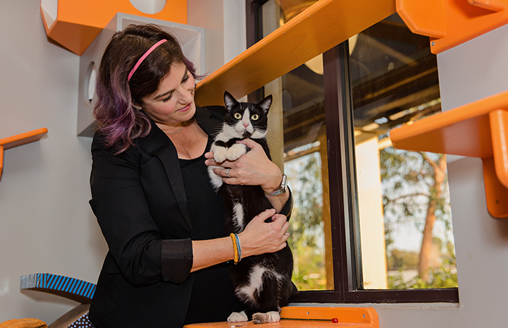 Woman holding black and white cat in a room that is surrounded with lots of orange shelves