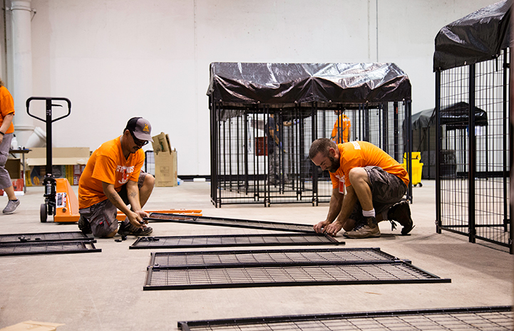 Rhett Notman helping assemble a kennel at the NRG Arena following Hurricane Harvey