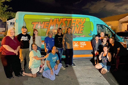 The Mystery Machine Best Friends transport van used for the New York transport