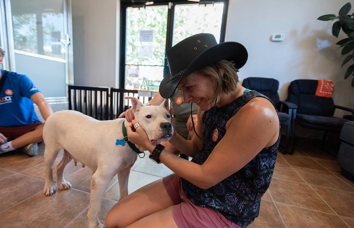 Dog at Best Friends Animal Sanctuary gets love from a volunteer