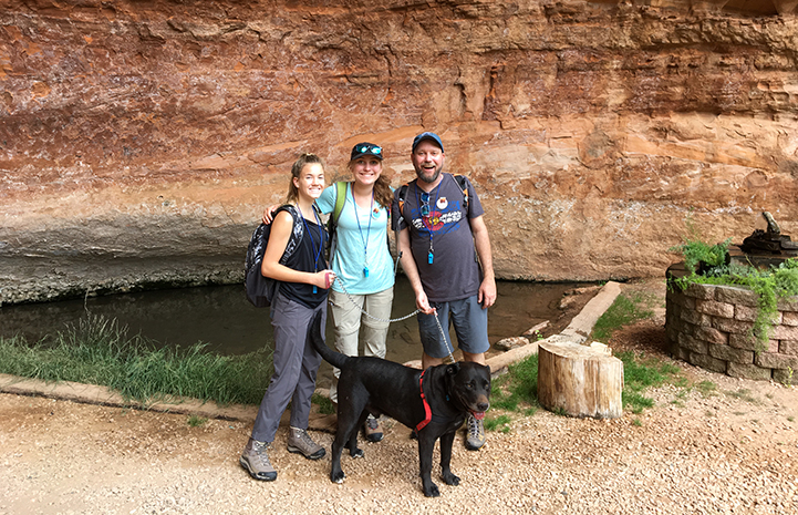 Ashley, Maddy, Bryan and Chinook the dog at Angels Landing