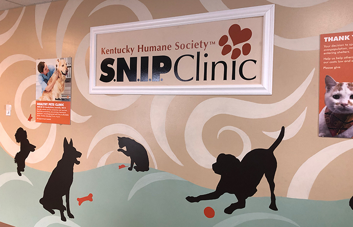 Kentucky Humane Society S.N.I.P. Clinic sign with dogs and cats painted around it