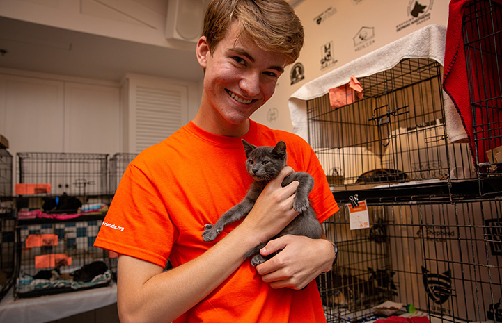 Jack the volunteer holding the small gray kitten his family adopted from the event
