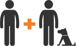 graphic of a dog and person with a plus sign to another person