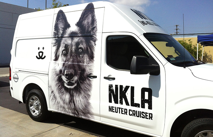 NKLA van with a German shepherd graphic on its side