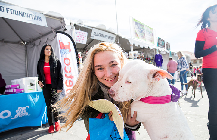 White pit-bull-type dog being adopted by a woman at the NKLA Super Adoption event