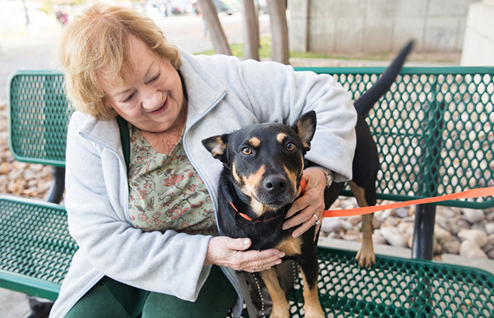 Woman sitting on a bench with a black and tan dog who she's adopting