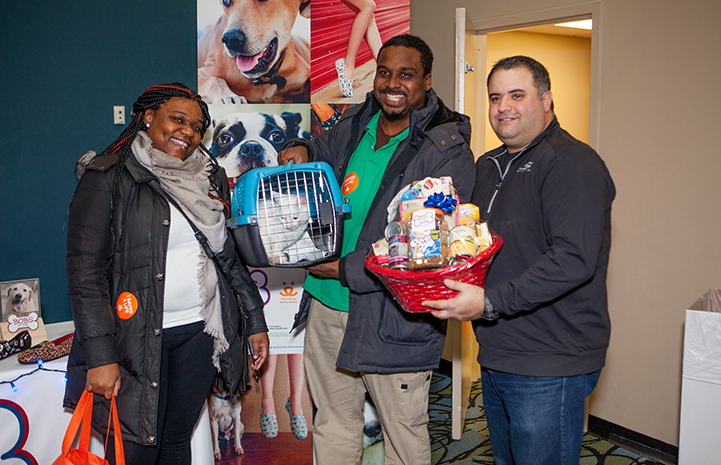 Snowball the cat was Skechers' featured pet at the event, the team from Skechers presented the couple with a basket full of toys and treats at the New York Super Adoption