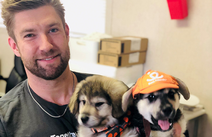 Man holding two adorable puppies, with one of the puppies wearing an orange Best Friends hat