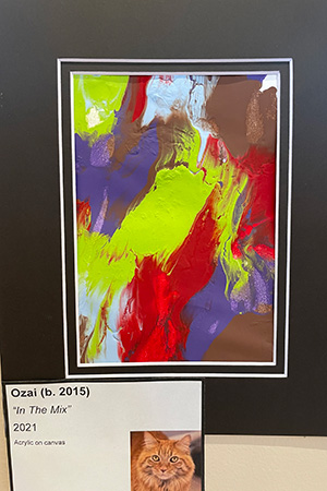 """Matted painting called """"In The Mix"""" created by Ozai the cat"""