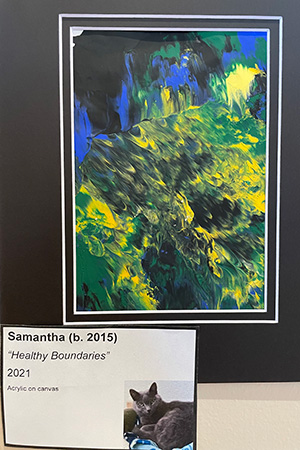 """Matted painting called """"Healthy Boundaries"""" created by Samantha the cat"""