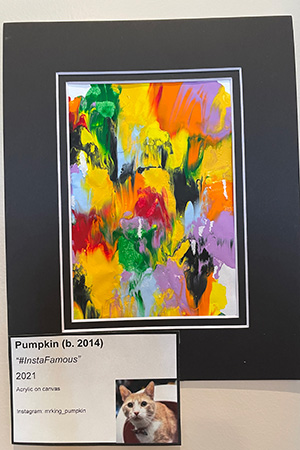 """Matted painting called """"#InstaFamous"""" created by Pumpkin the cat"""