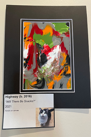"""Matted painting called """"Will There Be Snacks?"""" created by Highway the cat"""