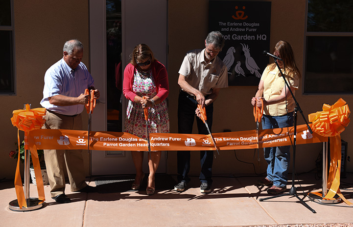 Ribbon cutting at the grand opening of the new Parrot Garden