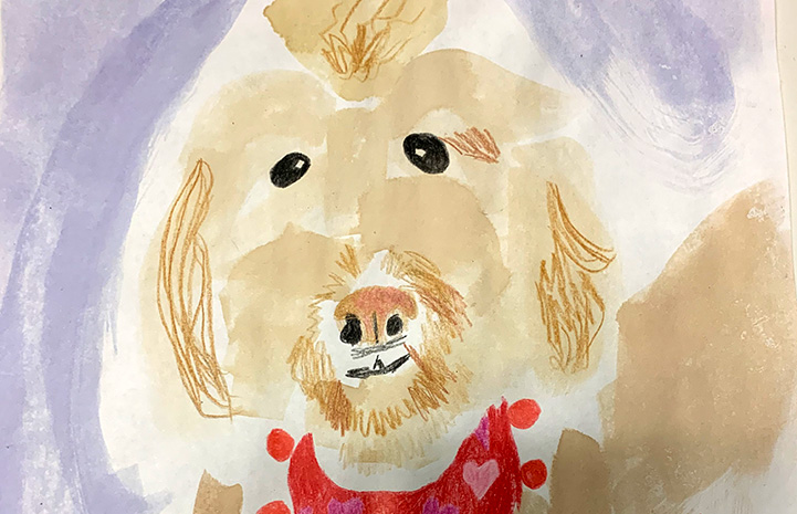 Painting of a Labradoodle type dog wearing a bandanna