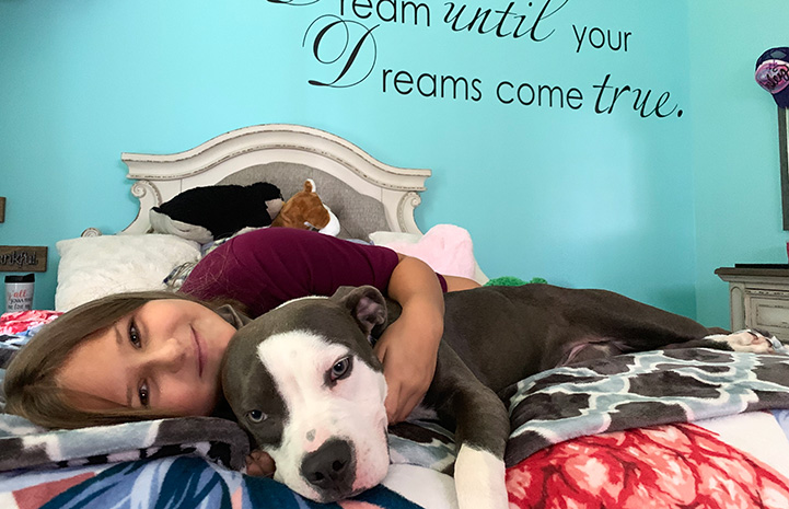 "Roxy the dog lying in bed with a young girl with the words ""Dream until your dreams come true"" written on the wall behind them"