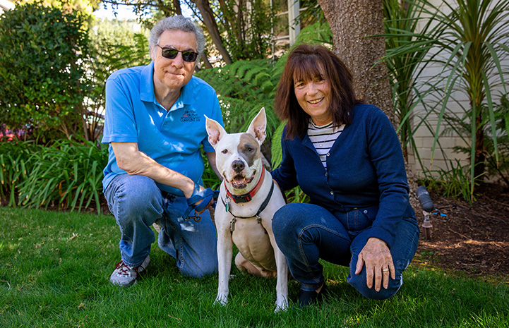 Jewel the dog with her adopted family, all posing for photo outside and smiling