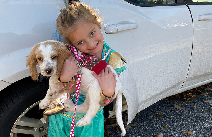 Penelope the puppy being held by a young girl