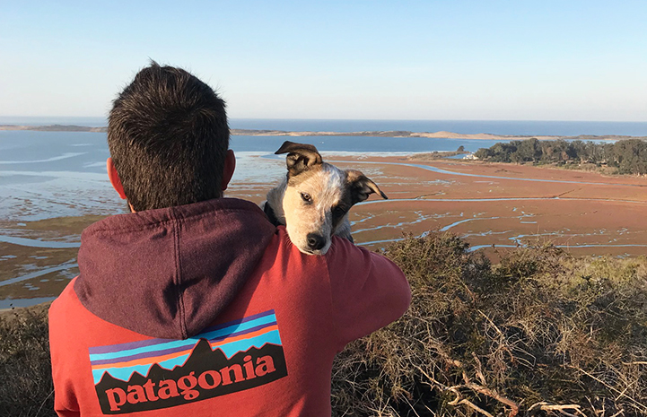 Sam holding Loka the puppy while looking out at a large body of water