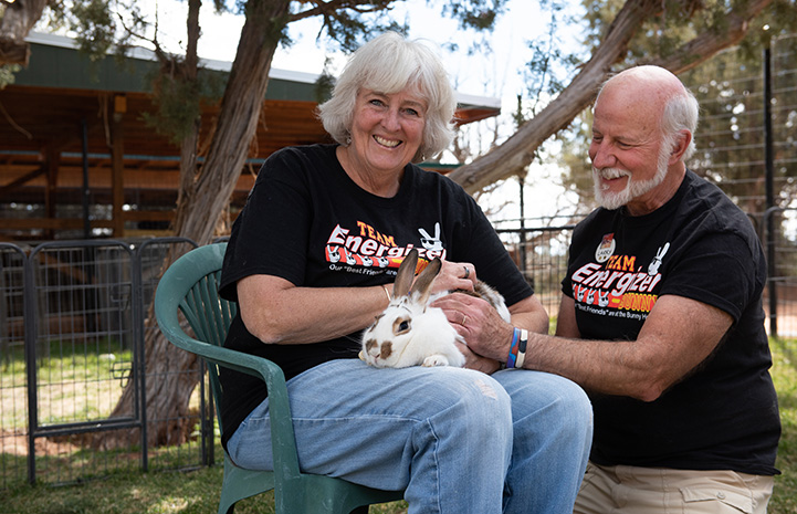 Barbara the Bunny House volunteer sitting in a chair holding Cinnabun the rabbit while her husband kneels next to them and pets the bunny