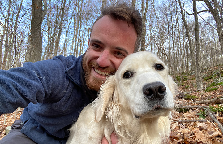Brian James with Meadow the dog who he saved with help of his drone
