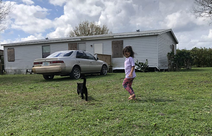 Young girl following a black cat outside in front of a car and home
