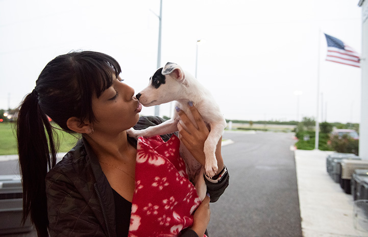 Woman holding up a small dog and kitting him