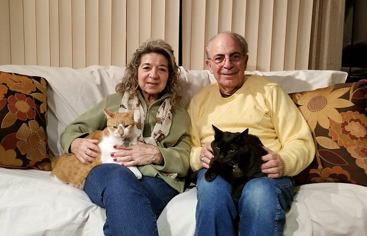 Lucy and Ray Tocci sitting on the couch with newly adopted Pyro and Raoul the cats on their laps