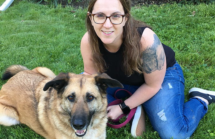 Amy with Polly her adopted German shepherd dog
