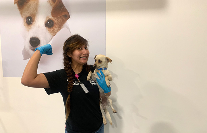 Yobeli Banda holding a strength pose with her arm and holding puppy in her other arm at Palm Valley Animal Center (PVAC)