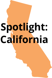 graphic of California with overlaid text that say spotlight California
