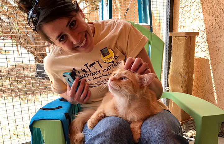 Catherine Welch volunteering at Cat World
