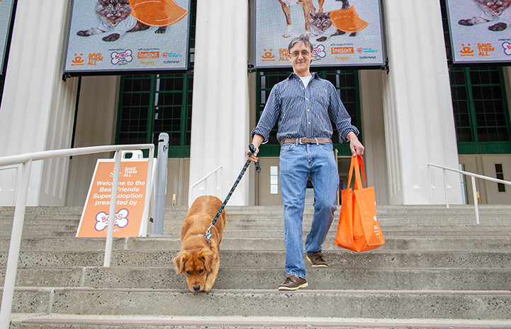 Man walking down the stairs from the New York Super Adoption with a golden retriever he'd just adopted on a leash