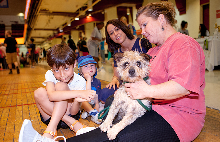 Family sitting on the floor with a small brown terrier dog at the New York Super Adoption event