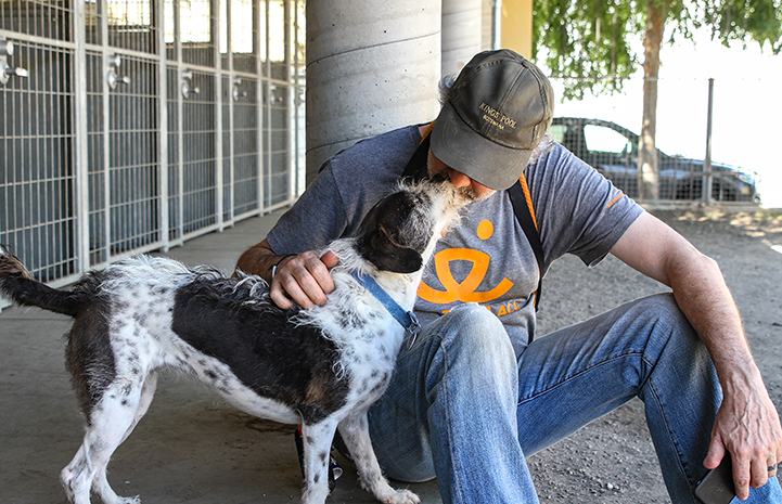 Volunteer Layne Dicker sitting down and getting a kiss from a terrier mix dog
